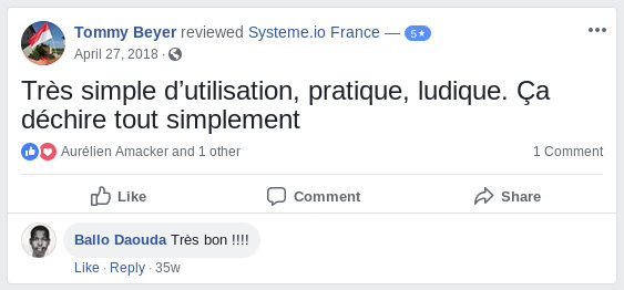 Testimonial, feedback review about systemeio